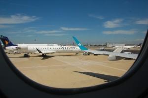 Fiumincino lennuväljal, vaade lennukiaknast